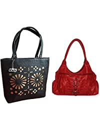 HnH Women HandBag Combo - Magnificent Red + Blossom Black