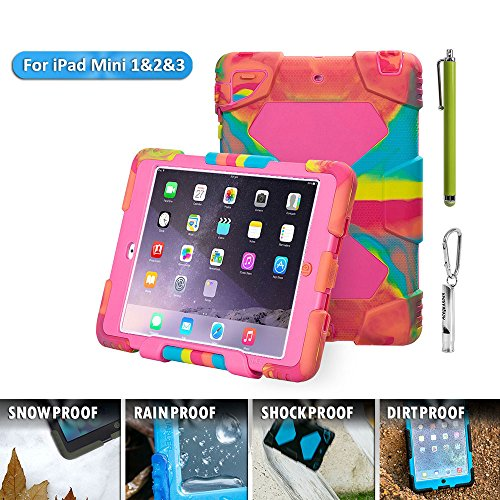 ACEGUARDER Apple Ipad Mini 2 Mini 1&2 Case Waterproof Rainproof Shockproof Kids Proof Case for Ipad Mini 2 Mini 1&2(Gifts Outdoor Carabiner + Whistle + Handwritten Touch Pen) (ICE ROSE) (Chicken Ipad Mini Case compare prices)