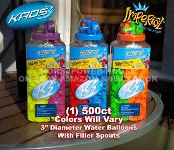 500 ct Water Bomb Balloon Kit with Filler Nozzle Colors Vary for Biodegradeable Bombs Balloons-one (1) container - 1