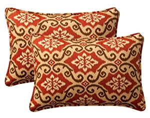 "Pack of 2 Outdoor Patio Rectangular Throw Pillows 18.5"" - Vintage Tuscan by CC Home Furnishings"