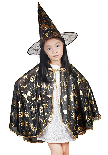 [Urban CoCo Halloween Pattern Printed Design Witch Hat and Cloak Cape Party Costume (S, Black)] (Urban Vampire Costume)