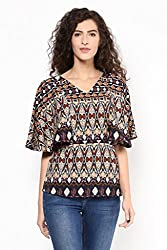 Geometric Print Cape Top