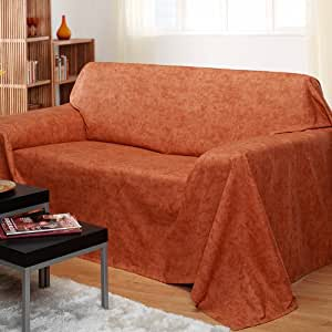 Lovely Bedspread Sofa Throw Carrione Medium 210x280 Cm Marbled Design Terracotta