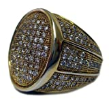 Mens Full of Faux Diamonds - 24K Gold Plated Oval of Ice HipHop Bling Ring