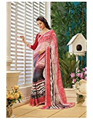 AG Lifestyle Peach & Off White Faux Georgette Saree With Unstitched Blouse AKS2035