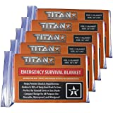 """TITAN Survival Blankets (5-Pack), 52"""" x 82"""" - Designed for NASA Space Exploration and Heat Retention. Our Emergency Mylar Thermal Blankets are Perfect for Marathons, Backpacking, Emergency Kits, and Heavy Duty Go-Bags."""