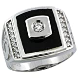 Sterling Silver Men's Black Onyx Ring w/ CZ Stones & Dolphins on Sides, 11/16 in. (17mm) wide, size 13