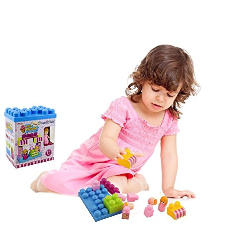 DimpleChild MiniBlocks Ice Cream Shop with Girl Figurine Building Kit (15-Piece)
