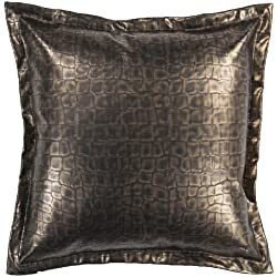 "22"" Metallic Gold Faux Crocodile Skin Decorative Throw Pillow"