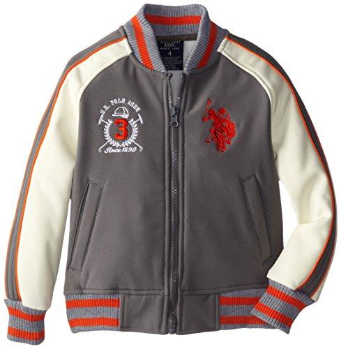U.S. Polo Association Little Boys' Softshell Jacket with Stripe Rib Knit Trim, Quiet Shade, 4 Rib Trim Jacket