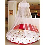 Housweety New Elegant Round Lace Curtain Dome Bed Canopy Netting Mosquito Net White