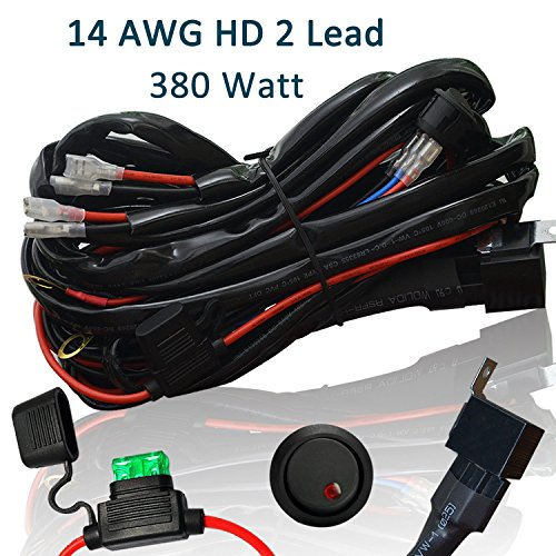 Heavy Duty Wiring Harness, Ampper 14 AWG Waterproof Offroad LED Light Bar Wiring Kits for High Watt LED Bar, with 40 Amp Relay Fuse On-Off Toggle Switch (11.48 FT, 2 Lead) (Dual Light Bar Harness compare prices)