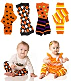 Halloween 4-pack Argyle, Polka Dot, Stripes, Candy Corn Baby & toddler leg warmers by juDanzy