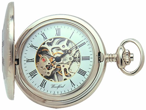 Woodford Skeleton Half-Hunter Pocket Watch, 1020, Men's Chrome-Finished  wth Chain (Suitable for Engraving)