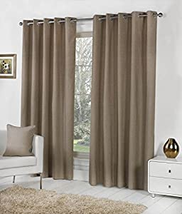 TAUPE 100% COTTON 90x54 229x137CM FULLY LINED RING TOP CURTAINS DRAPES from Curtains
