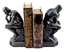 Bookends Rodin the Thinker Male Nude Bronze Color Resin Collectible Statue Figurine