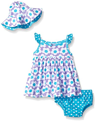 Gerber Baby Three-Piece Sundress, Diaper Cover and Hat Set, Flowers, 24 Months