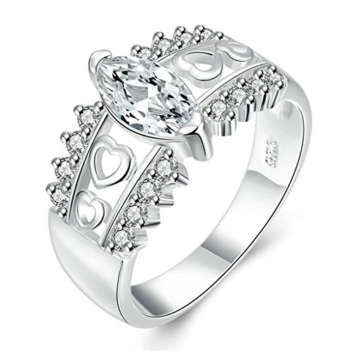 alimab Argento sposa Wedding Bands Hollow Cuore, placcato argento, 13,5, colore: argento, cod. ABLKNNJZ5635