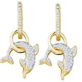 Dolphin Dangle Earrings Diamond 10k Yellow Gold