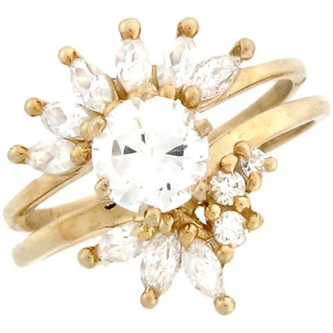 10k Yellow Gold Round CZ Stackable Engagement Ring Set with Marquises
