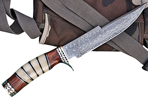 Top-Quality Handmade GCrafter Damascus Steel 13 inch Bowie Knife Full Tang Hunting Knife with Leather Sheath - Best Quality Survival