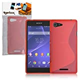 Tigerbox® Premium S-Line Slim Hydro Gel Skin Case Cover For Sony Xperia E3 Mobile Phone With Screen Protector - Red
