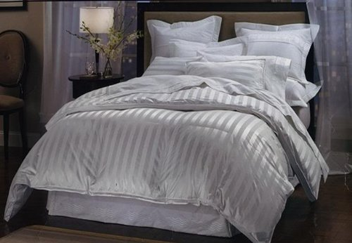 1000 Thread Count Queen 1000TC Goose Down Comforter 700FP, White Stripe 1000 TC