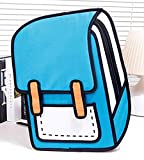 3D Jump Style 2D Drawing from Cartoon Paper Bag Funny Comic 3D Cartoon Schoolbag Backpack Laptop Bag Shoulder Bag 13.8 x 5.1 x 18.1 Inch Blue