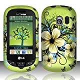 LG Extravert(Verizon) vn271 Accessory - Green Hibiscus Hawaii Flower Design Case Protective Cover