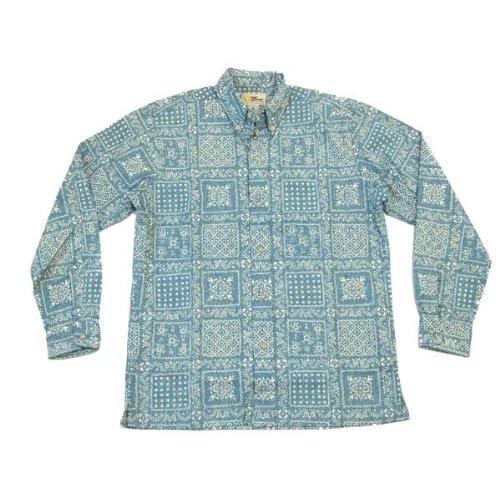 (レインスプーナー)Reyn Spooner 長袖アロハシャツ オリジナルラハイナ L125-1436 #62デニム色 (メンズSサイズ(アメリカサイズ))
