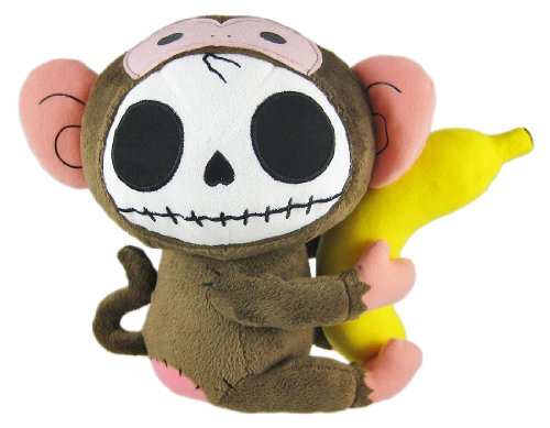 Furry Bones Brown Plush Monkey 10 Inch Stuffed Skull