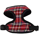 Imported Pet Dog Puppy Plaid Mesh Adjustable Harness Clothes Size XS Red