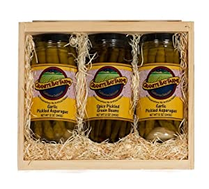 Garlic Pickled Asparagus And Spicy Pickled Green Beans 3 Jar Gift Box from Granite Bay Farms Specialty Foods