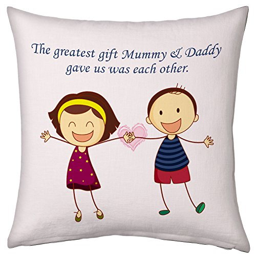 Greatest Gift to each other Brother Sister 12X12 Printed Cushion with filler Rakhi Birthday Everyday Gift