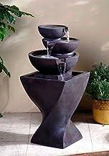 325quot Modern Spiraling Column Tiered Bowls Outdoor Patio Garden Water Fountain