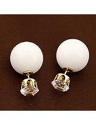 Ashiana Emma Watson Inspired Double-Sided Rhinestone Stud Earrings - White