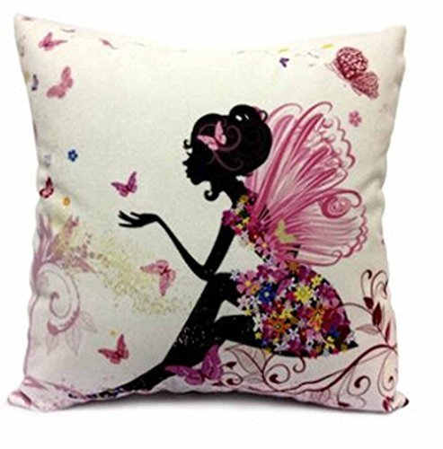 Cotton Linen Girl with Pink Wing Elves and Butterflies New Pillowcase Throw Cushion Cover