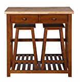 Dorel Asia Space Saver, Kitchen Island and Stool Set, Natural and Walnut Finish