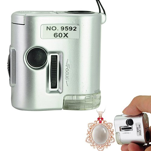 New Mini 60X Microscope Loupe Led Lighted Jeweler Magnifier Money Detector
