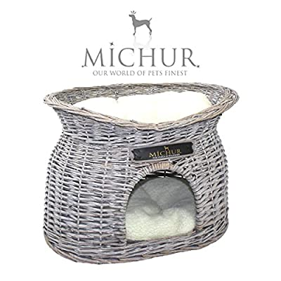 """MICHUR RICHY, dog cat cave, dog cat basket, dog cat bed, dog cat house, willow, wicker, grey, size 21x15x17"""" (55x39x43cm) incl. pillows - GERMAN BRANDNAME QUALITY!!!"""