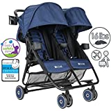 Zoe XL2 Xtra Lightweight Double Stroller, Grey Wheels - London Navy