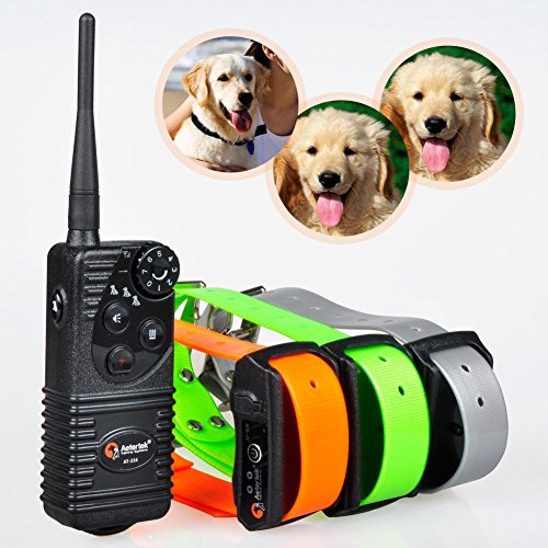Aetertek At-216S Rechargeable Dog Trainer Submersible Dog Shock Collar 550M Remote Dog Pet Electric Shock Control 3 Dog Training Anti Bark Shock Collar 100% Waterproof Dog Bark Collar