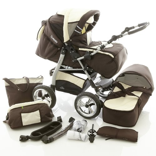 Chilly-Kids-iCaddy-2-in-1-Pram-Combi-Stroller-Pushchair-rain-cover-mosquito-net-beverage-tray-changing-mat-49-colors-34-Brown-Beige