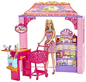 Barbie Shops with Doll Grocery Store, Multi Color