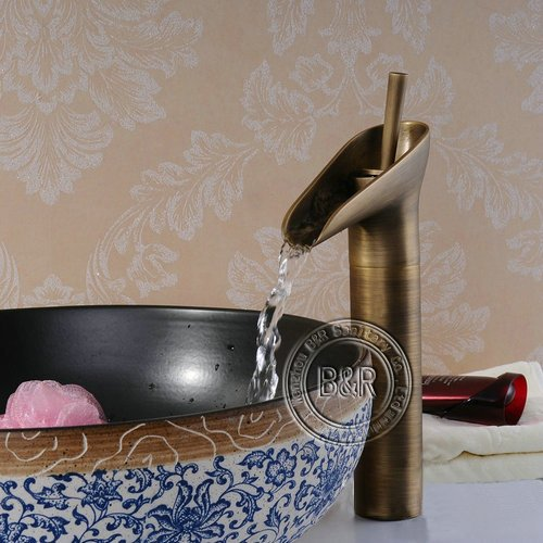 B&R Luxury Antique Copper Bathroom Vessel Sink Faucet Mixer Tap