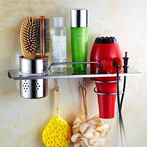 Tourwin Support sèche-cheveux de salle de bain en acier inoxydable Support de rangement organiseur avec 2crochets