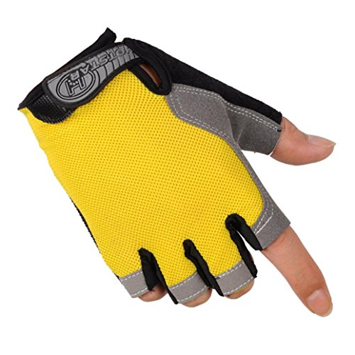 Sports Gloves, RIUDA Bicycle Cycling Biking Gel Half Finger Fingerless Gloves (Yellow, L)