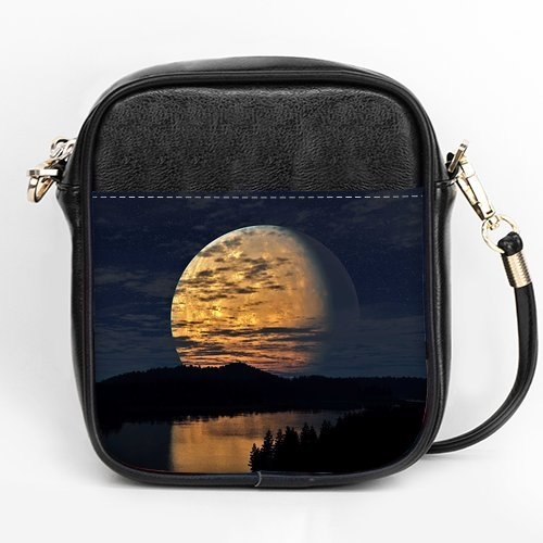 Anhome Big Round Moon Fall Off Forest Rivercustom Sling Bag front-901426