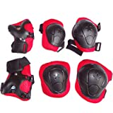 Nsstar Kid Toddlers Bike Bicycle Cycling Roller Skating Knee Elbow Wrist Protective Pads for Skateboard Biking and Other Extreme Sports (Black/Red)