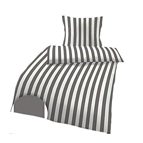 IDO Mako-Satin Bettwäsche 2tlg. Grau Weiß gestreift 17494-600 Bettwäsche Bettbezug 80x80 cm / 135x200 cm thumbnail